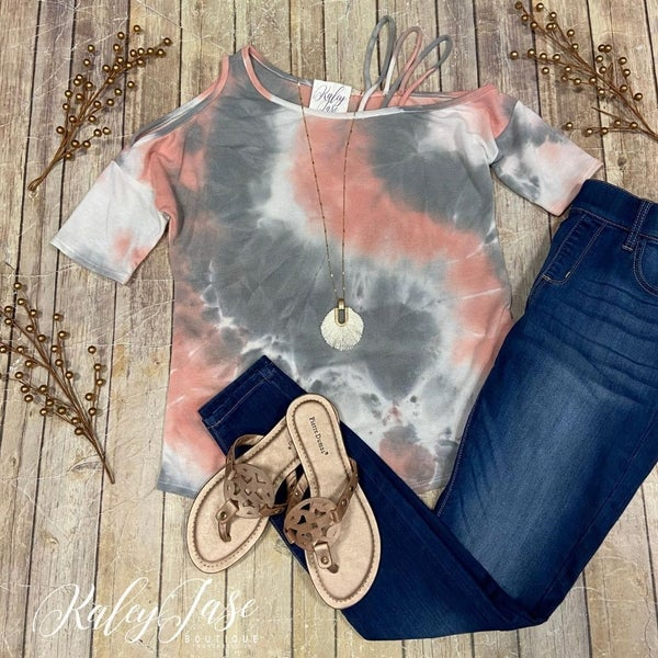 Peach Grey Tie Dye Strappy Cold Shoulder Top