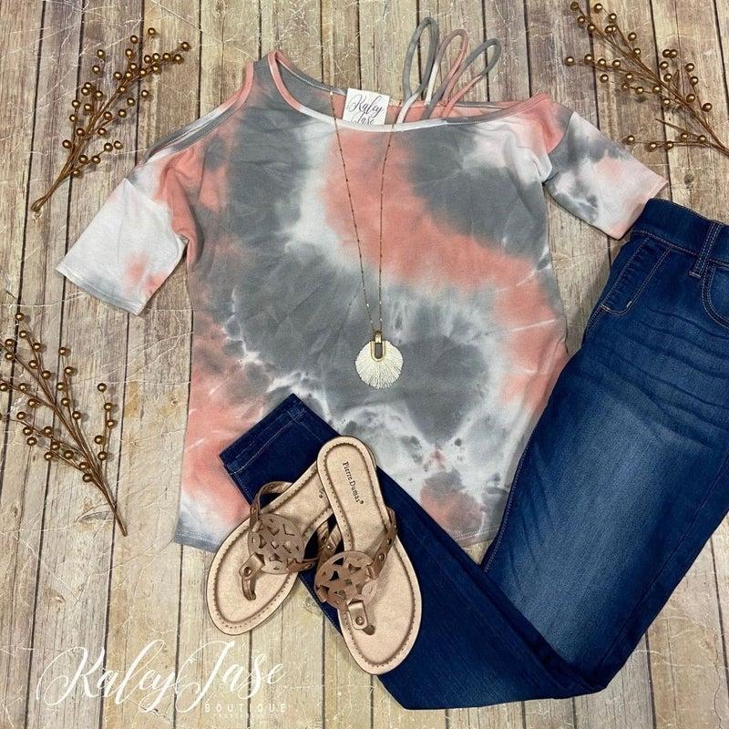 Peach Grey Tie Dye Strappy Cold Shoulder Top