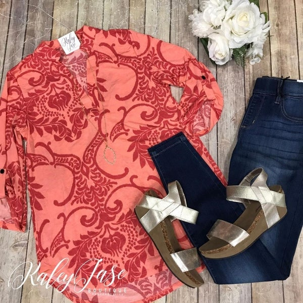 Bright Coral Damask Vera Top