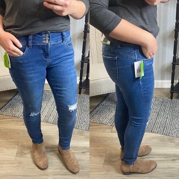 WBB Medium Wash Triple Button Misses Full Length Jeans
