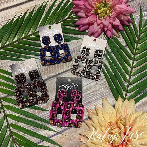 Rectangle Leopard Beaded Earrings