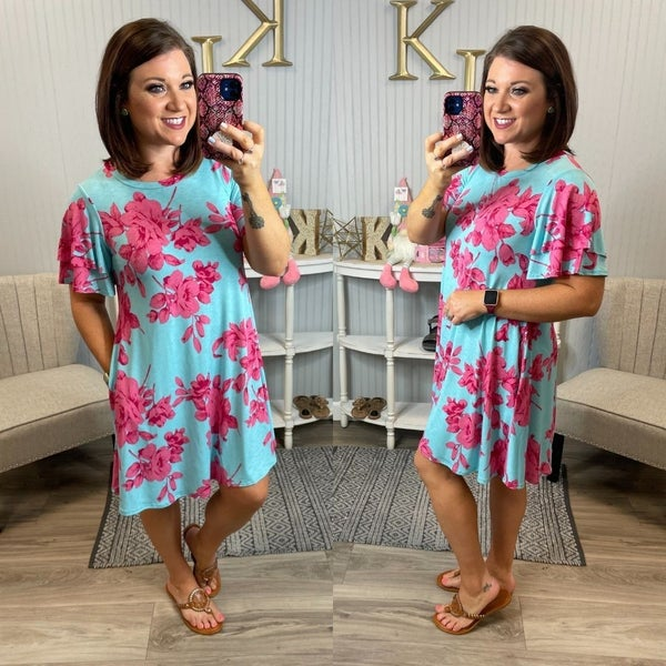 Blue Fuchsia Pink Floral Dress