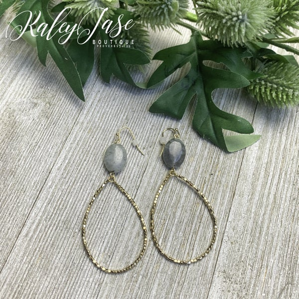 Marble and Beaded Teardrop Hoops  -E2