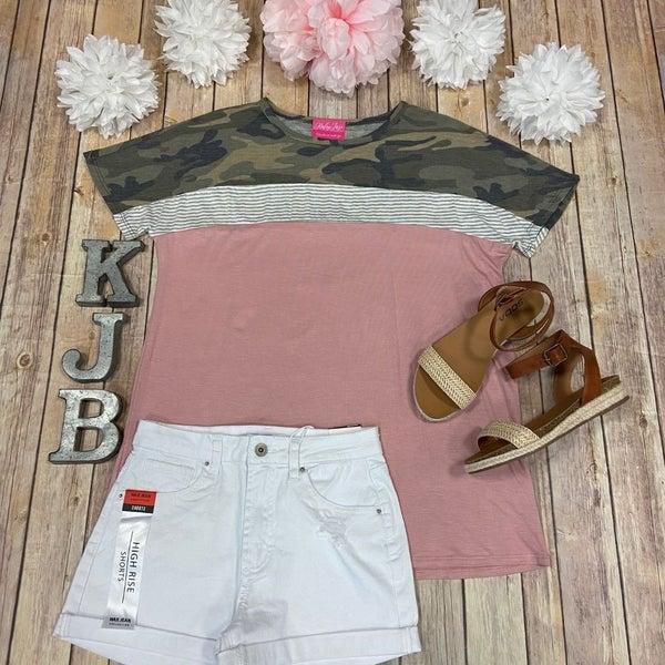 Rose Camo Stripe Colorblock Top