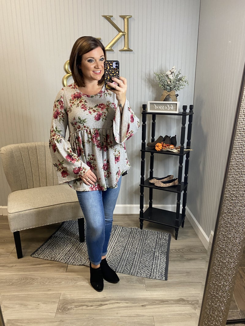 SIL Heather Floral Bell Sleeve Babydoll Top