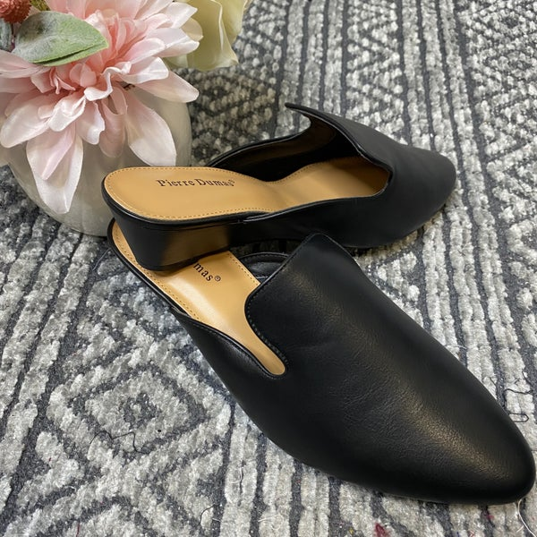 Black Low Wedges Mules