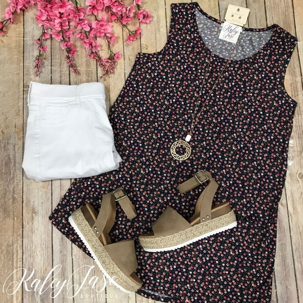 Navy Pink Little Flower Tank