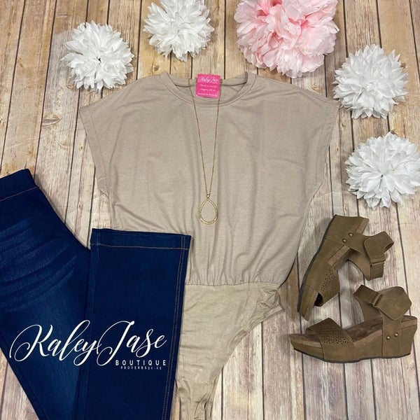 Taupe Solid Basic Bodysuit