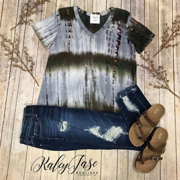 Olive Abstract Tie Dye Top
