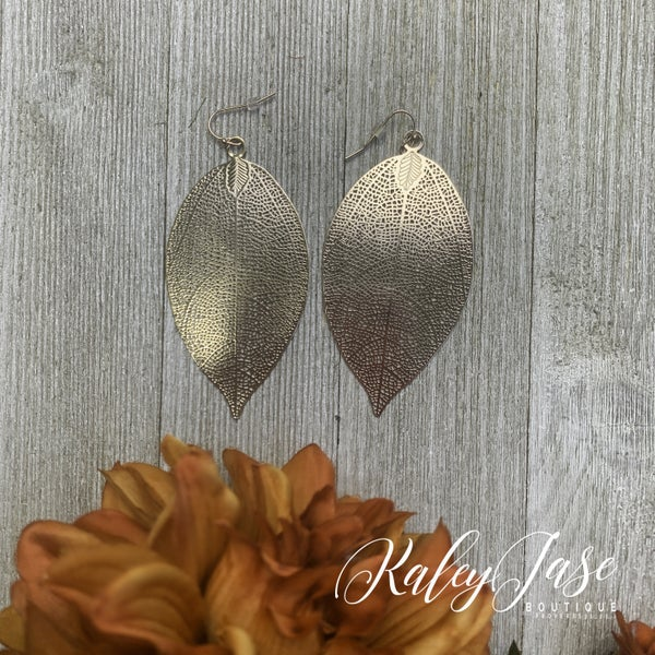Rose Gold Large Leaf Earrings -G4