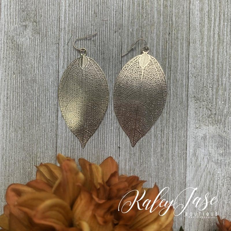 Rose Gold Large Leaf Earrings -G4