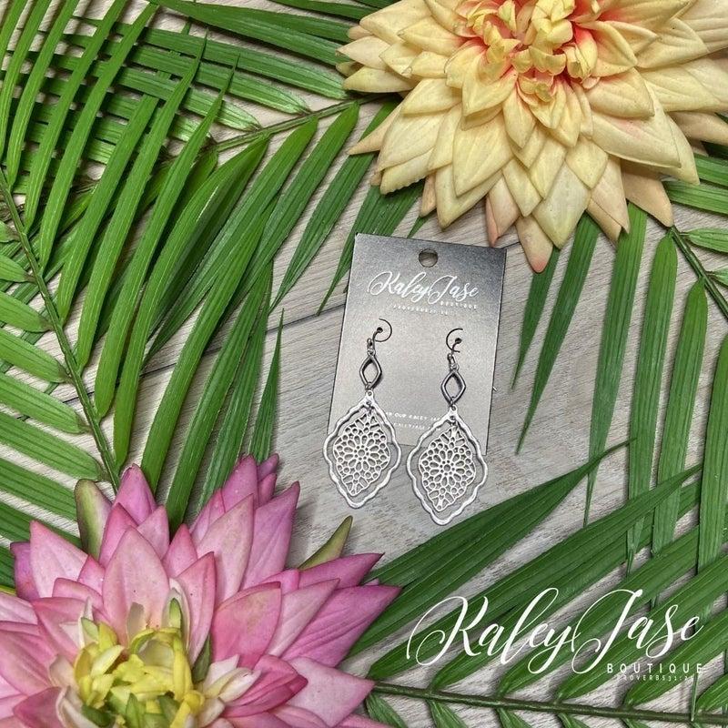 Silver 2 Tiered Inner Intricate Dangle Earrings -B2