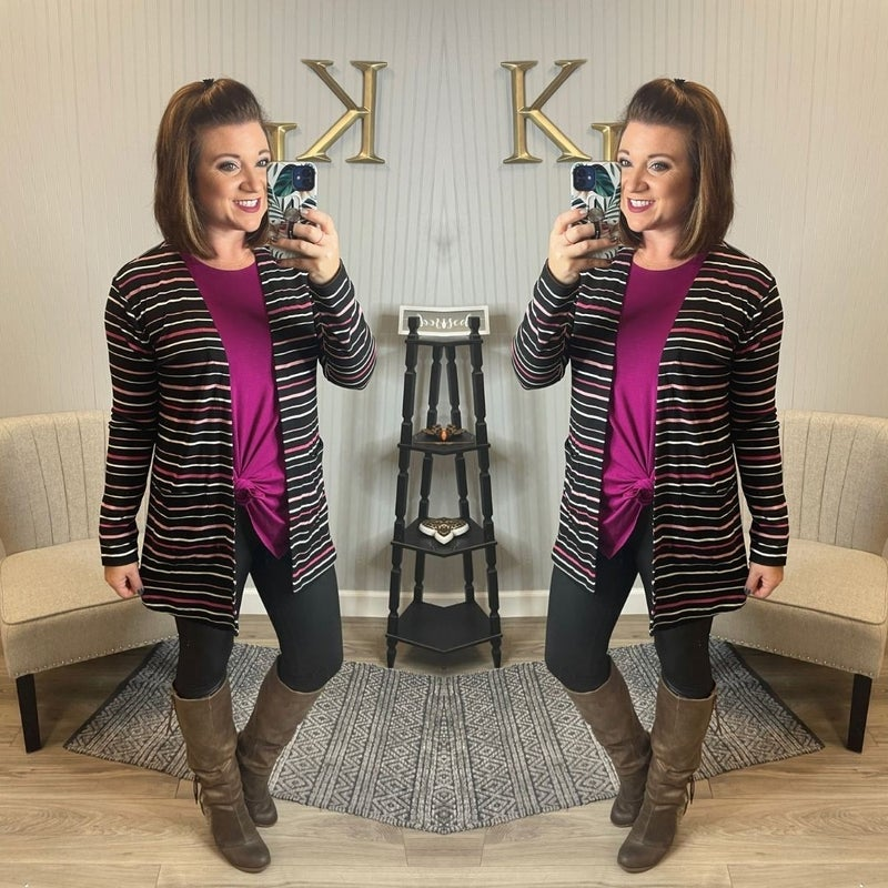 Black Magenta Stripe Cardigan