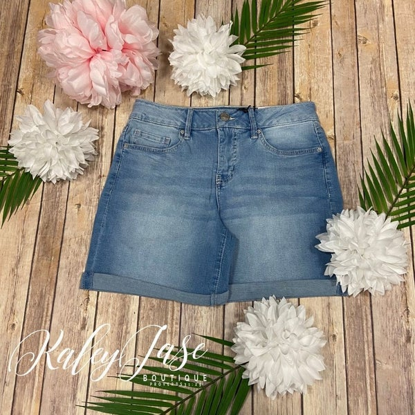 Royalty Light  Wash Tummy Control High Rise Shorts