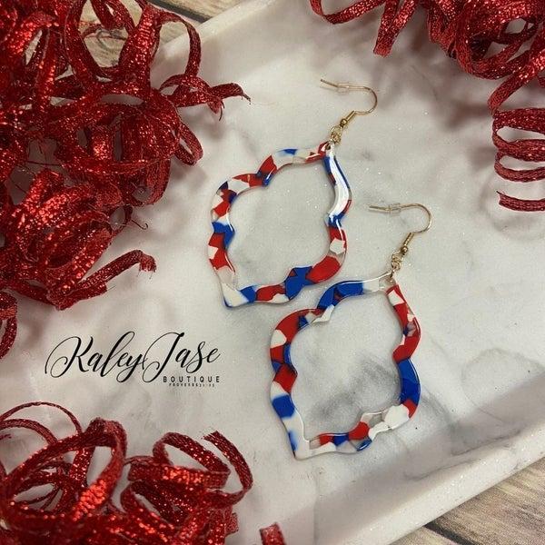 Red, White & Blue Ornate Dangle Earrings -B5