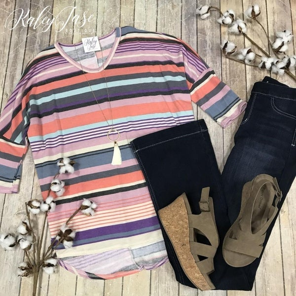 Multi Stripe Dolman Top