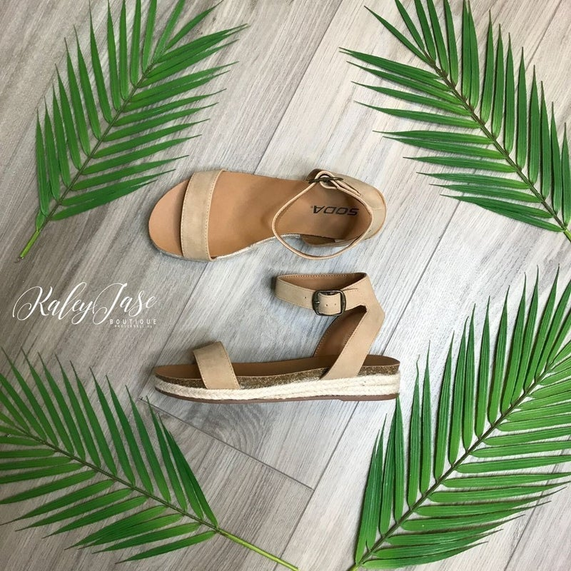 Tan Flat Ankle Strap Sandals