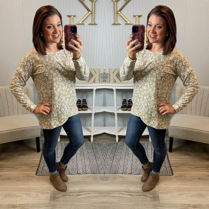 SIL Tan Ivory Leopard Raglan Lightweight Sweatshirt