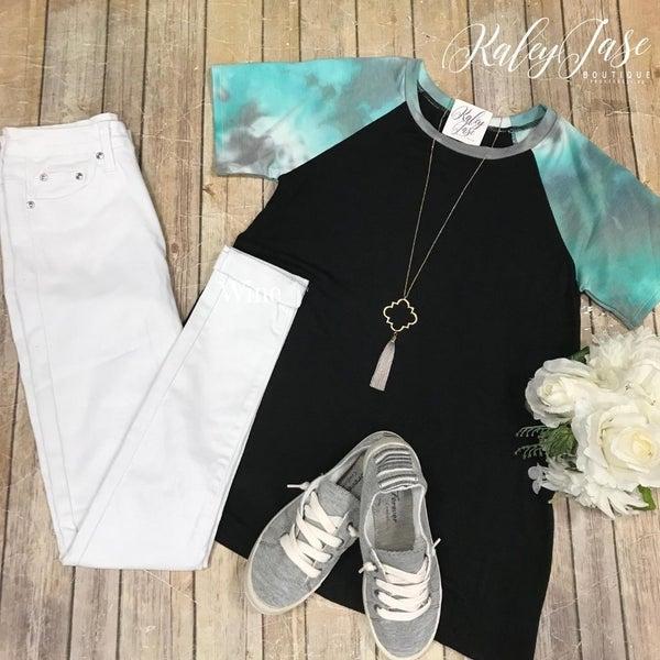 Black/Aqua Tie Dye Sleeve Top
