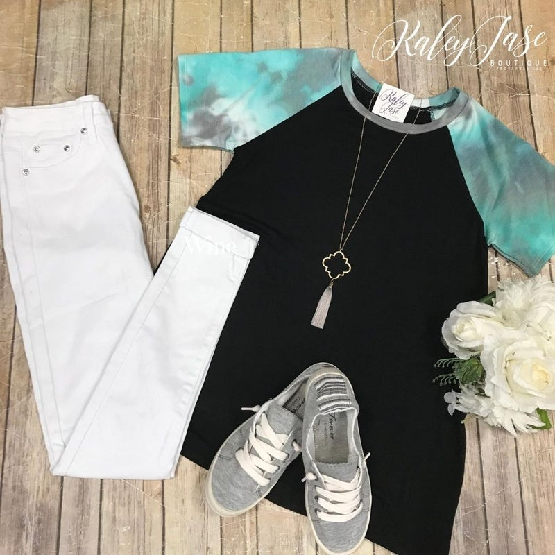 Black/Aqua Tie Dye Sleeve Top