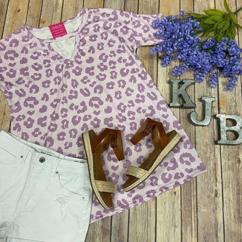 Soft Lavender Leopard Keyhole Top