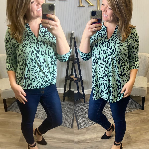 SIL Mint Leopard Gabby Top