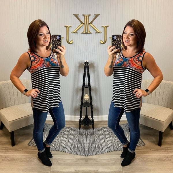 Black Ivory Stripe Burst Back Tank