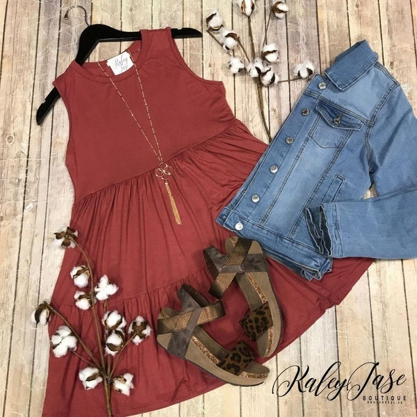 Marsala Tiered Dress