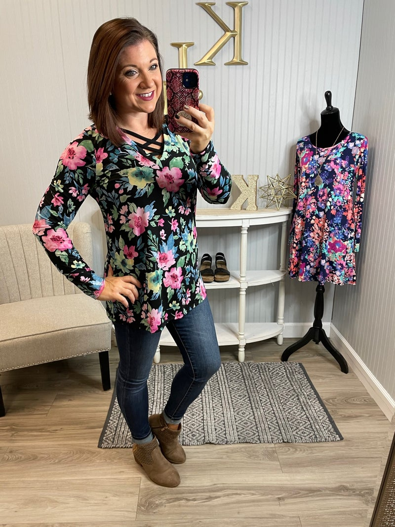 SIL Bright Floral LS Criss Cross Top