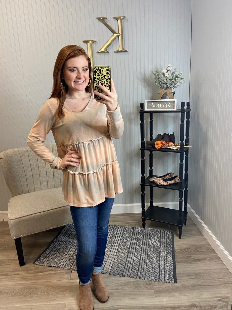 SIL Peach Grey Tie Dye Tiered Top