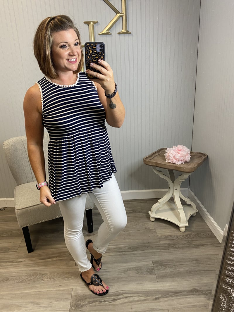 Navy Stripe Accented Babydoll Top