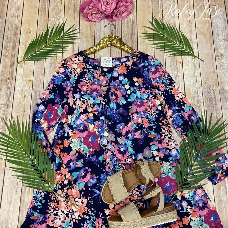 Navy Bright Floral LS Dress