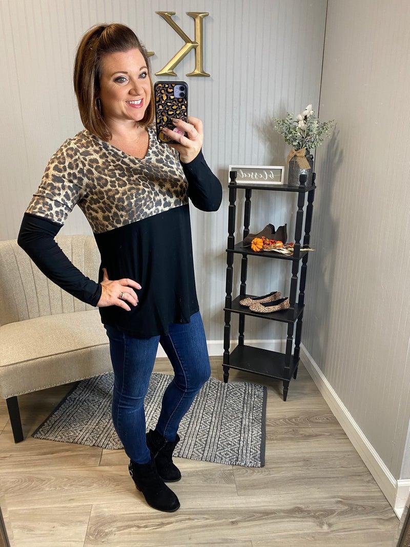 SIL Half Leopard Vneck Top