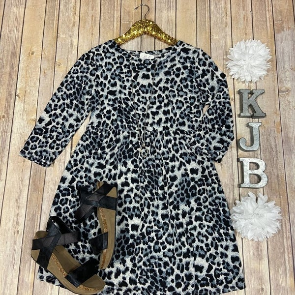 SIL Wild Grey Leopard Babydoll Dress *Final Sale*