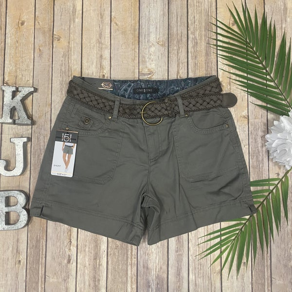 One5One Olive Belted Shorts