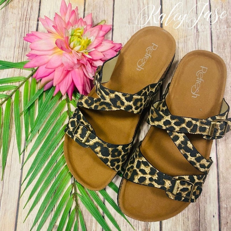 Leopard Crossover Strap Sandals