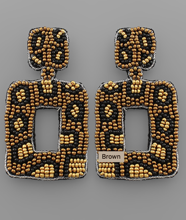 Rectangle Leopard Beaded Earrings