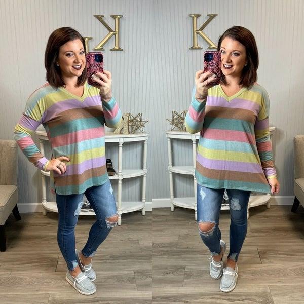 SIL Multi Colored Stripe Vneck Top