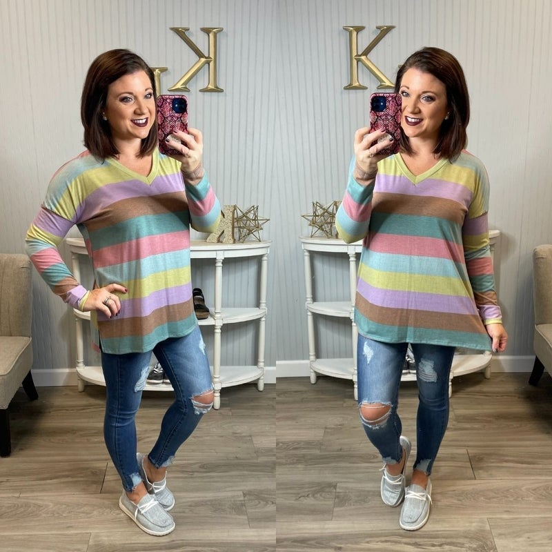 SIL Multi Colored Stripe Vneck Top