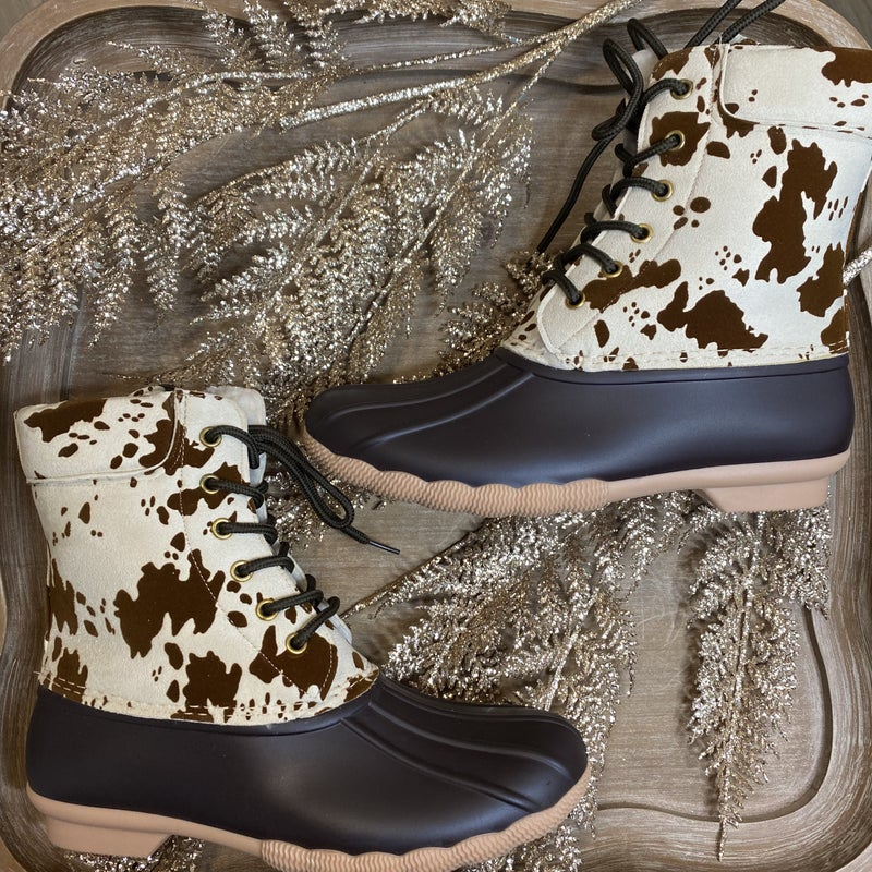 Cow Print Duck Boots