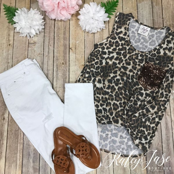 Animal Print Sequin Twist Tank