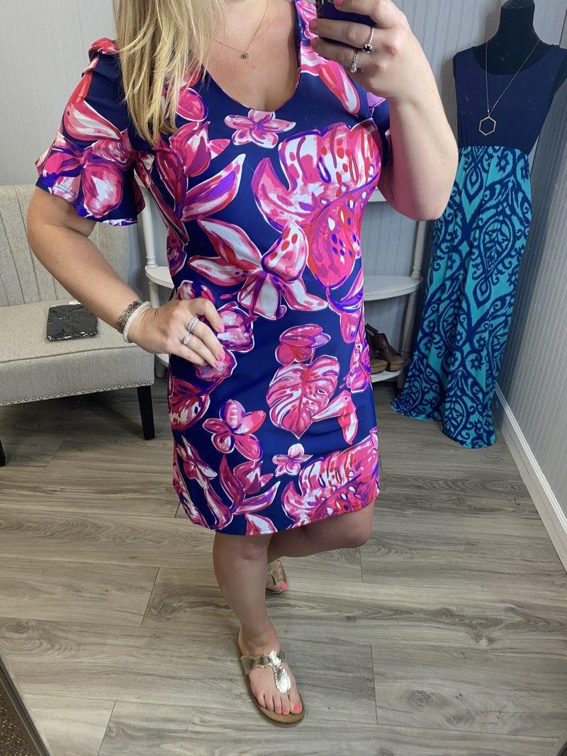 Aryeh Navy Fuchsia Lily Palm Brynn Ruffle Sleeve Dress
