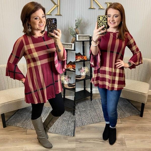 Wine Plaid Bell Sleeve Tunic