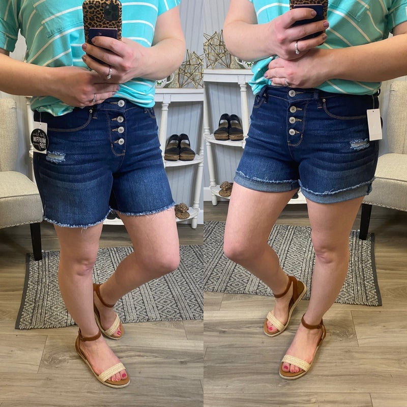 Hide Your Muffin High Rise Button Front Frey Shorts