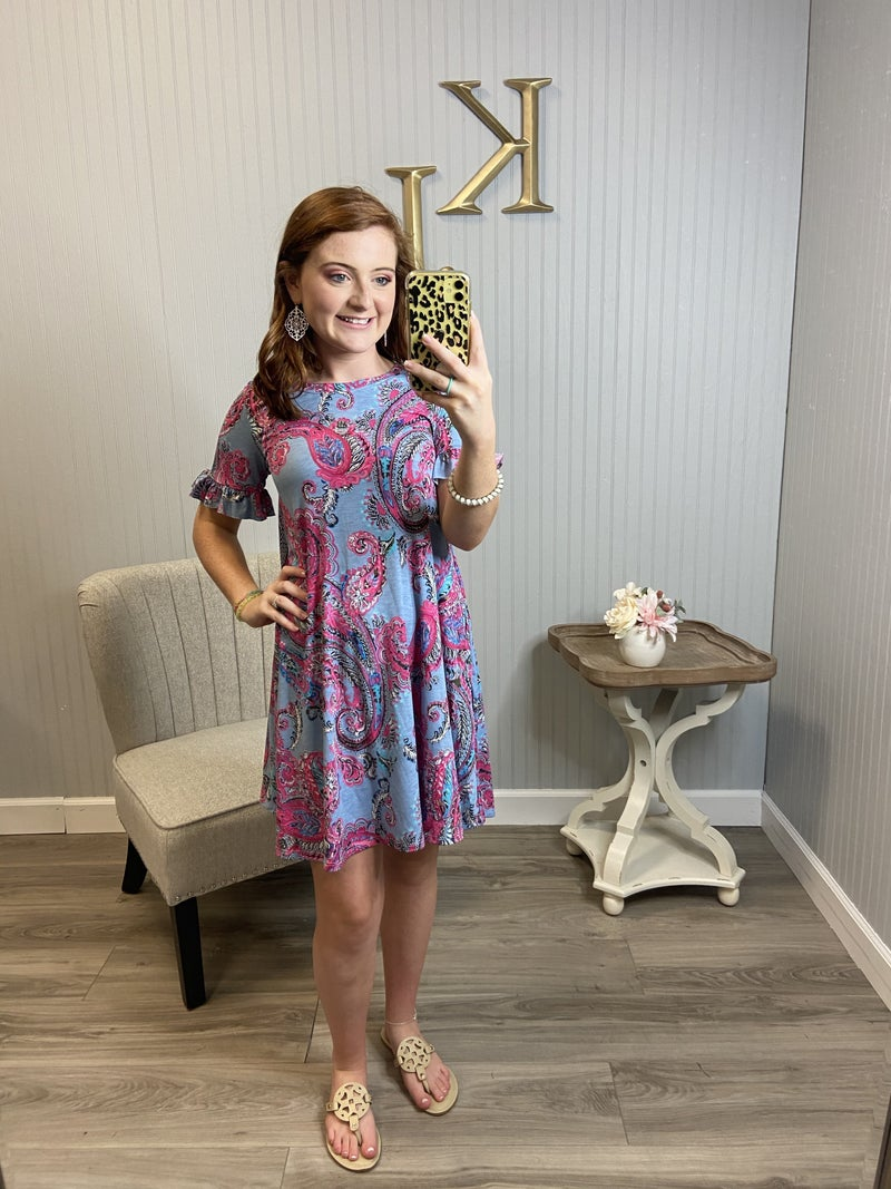 Slate Paisley Fuchsia Ruffle Sleeve Dress