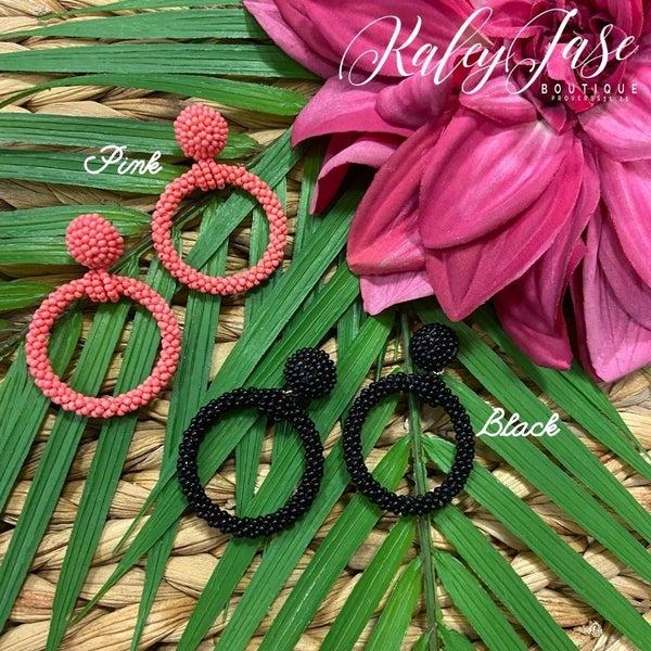 Beaded Circle Dangle Earrings -C6
