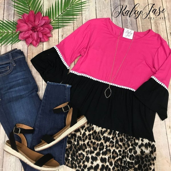 Fuchsia Tiered Leopard Bell Sleeve Top