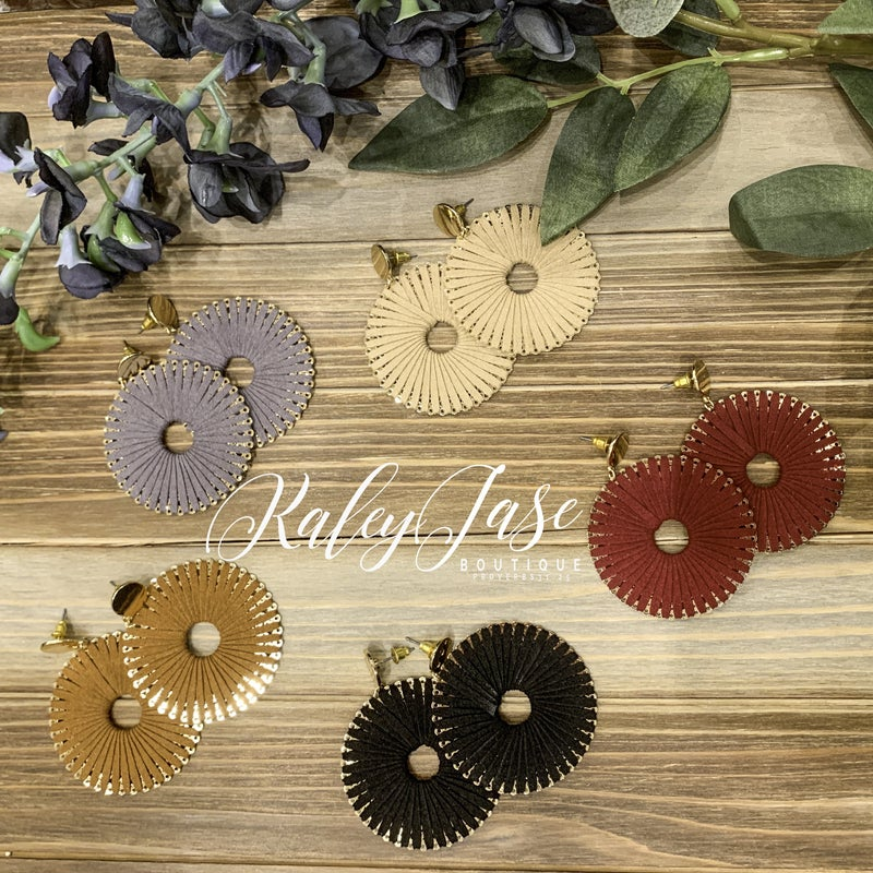 Suede Wrapped Medallion Earrings -C4