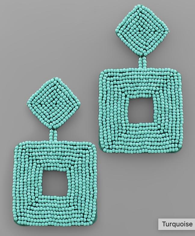 Square Beaded Drop Earrings
