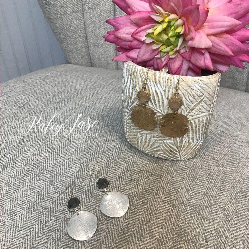 Druzy Circle Drop Earrings -D3 & D4